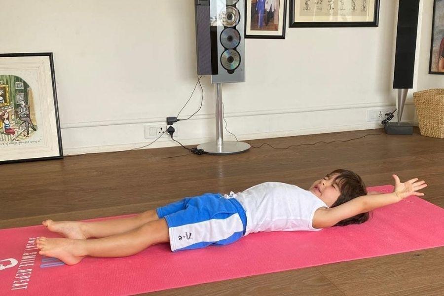 The Little Nawab Taimur Ali Khan woos netizens with a cute yoga pose