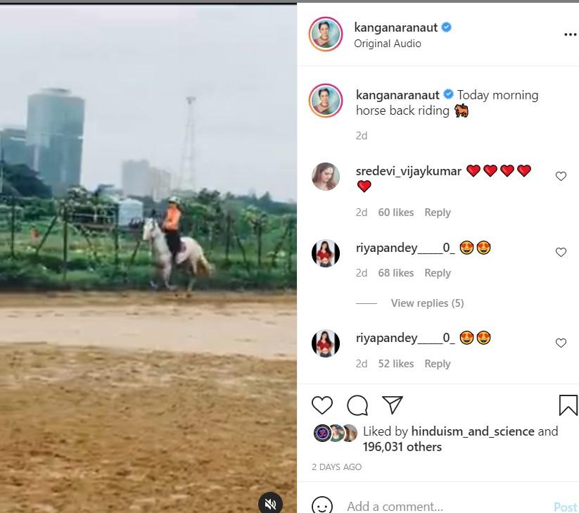 Kangana Ranaut demonstrates her horseback riding skills this Sunday morning!